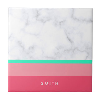 elegant white marble pastel pink melon mint tile