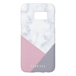 elegant white marble pastel pink purple geometric