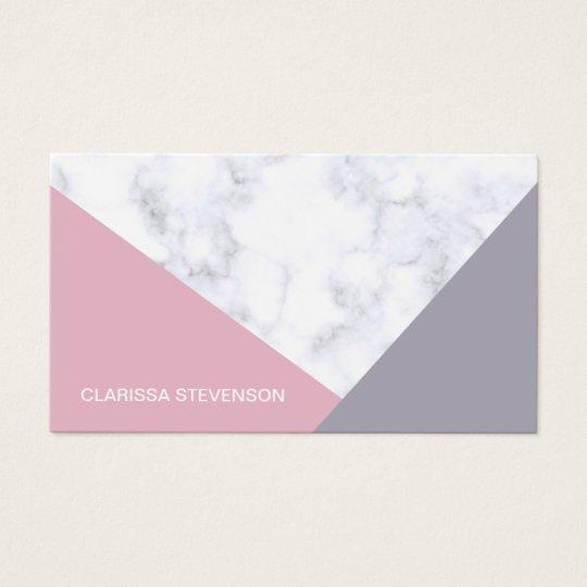 elegant white marble pastel pink purple geometric business