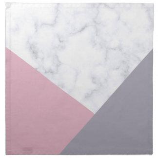 elegant white marble pastel pink purple geometric napkin