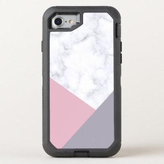 elegant white marble pastel pink purple geometric OtterBox defender iPhone 8/7 case