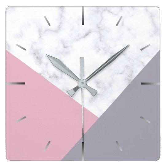 elegant white marble pastel pink purple geometric square