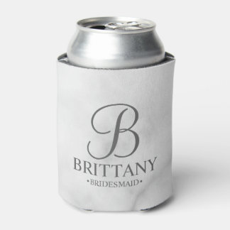 Elegant White Marble Personalized Bridesmaids Can Cooler