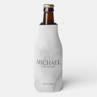 Elegant White Marble Personalized Groomsmen Bottle Cooler
