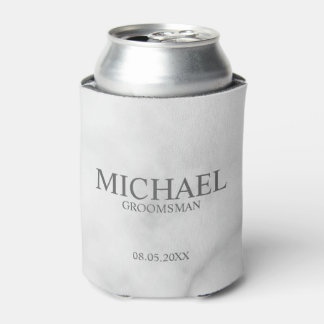 Elegant White Marble Personalized Groomsmen Can Cooler