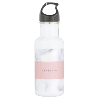 elegant white marble rose gold faux strip 532 ml water bottle