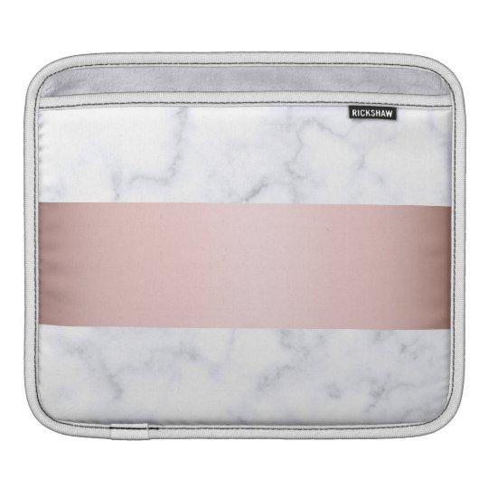 elegant white marble rose gold faux strip iPad