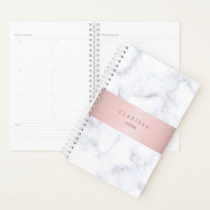 elegant white marble rose gold faux strip planner