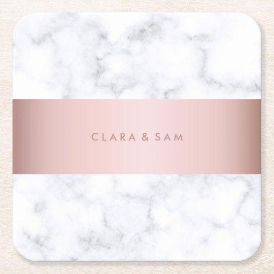 elegant white marble rose gold faux strip square