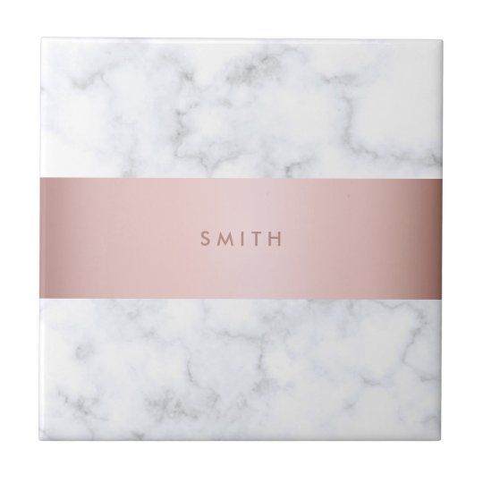 elegant white marble rose gold faux strip tile