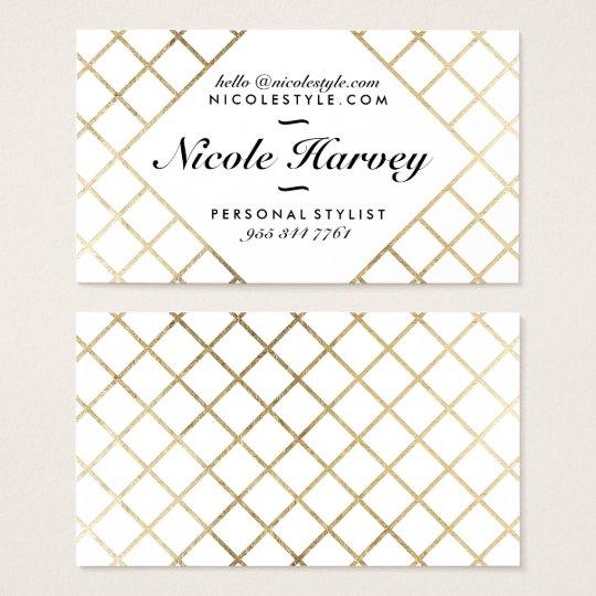 Elegant white modern faux gold foil chic stripes