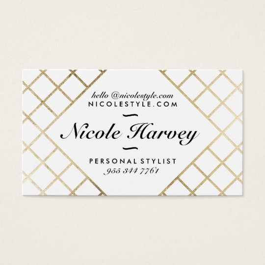Elegant white modern faux gold foil chic stripes