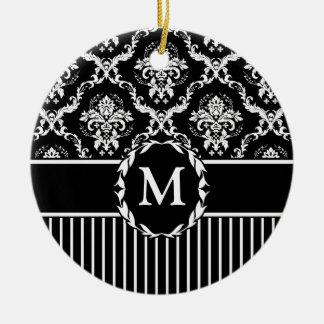 Elegant White on Black Damask Christmas Ornament
