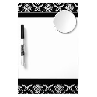 Elegant White on Black Damask Dry Erase Board With Mirror