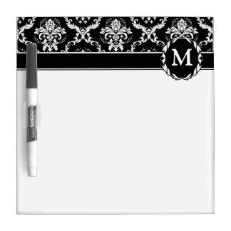 Elegant White on Black Damask Dry Erase Boards