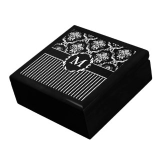 Elegant White on Black Damask Gift Box