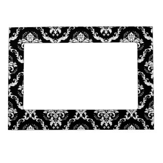 Elegant White on Black Damask Magnetic Photo Frame