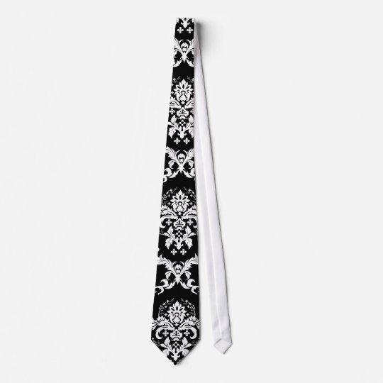 Elegant White on Black Damask Tie