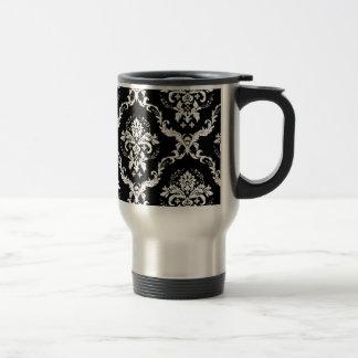 Elegant White on Black Damask Travel Mug