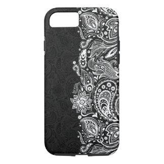 Elegant White On Black  Vintage Paisley Lace iPhone 8/7 Case