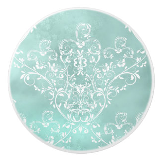 Elegant White on Teal Damask Ceramic Knob
