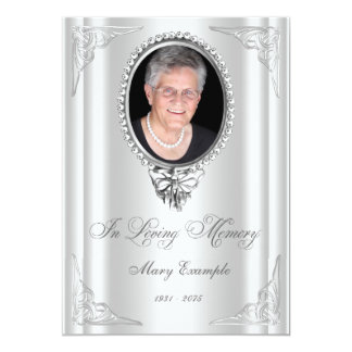 Elegant White Order of Service Mourning Cards 13 Cm X 18 Cm Invitation Card