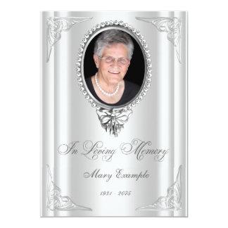 Elegant White Order of Service Mourning Cards 13 Cm X 18 Cm Invitation Card