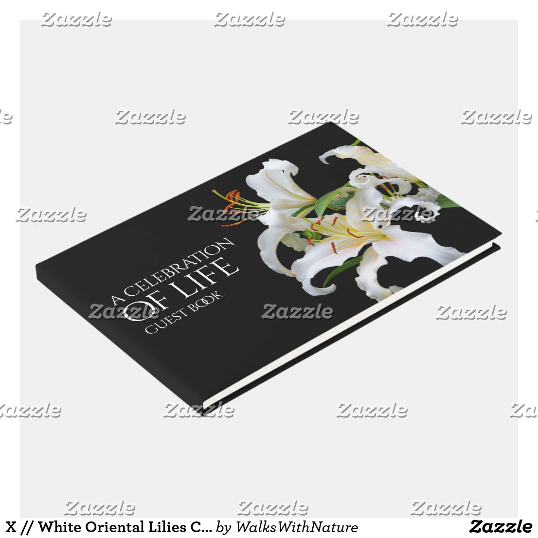 Elegant White Oriental Lilies Celebration of Life Guest Book