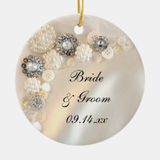 Elegant White Pearl and Diamond Buttons Wedding Christmas Ornament