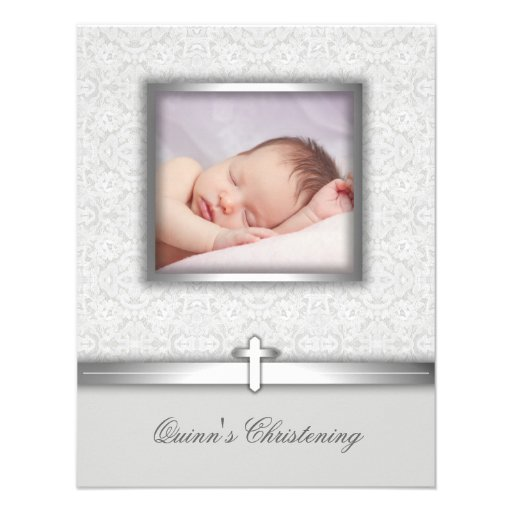 Elegant White Photo Christening Invitations