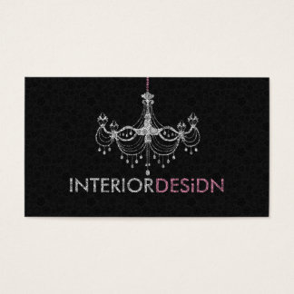 Elegant White & Pink Chandelier Interior Design 3 Business Card