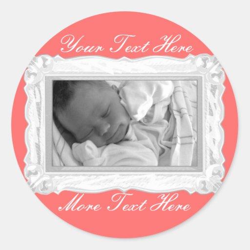 Elegant White & Pink Frame Stickers
