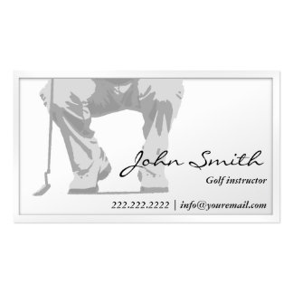 Elegant White Putt Golf Instructor Business Card