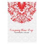 Elegant White & Red Damasks & Lace Pack Of Chubby Business Cards