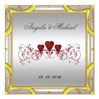 "Elegant White Red Hearts Wedding Invitation 5.25"" Square Invitation Card"