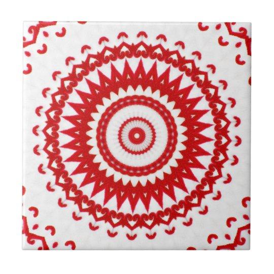 Elegant White Red Scandinavian Folk Lace Textile Tile