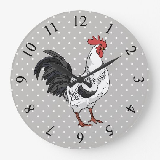 Elegant White Rooster Wall Clock