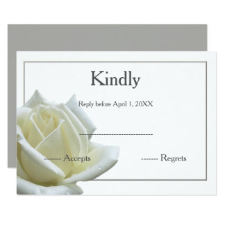 Elegant white rose and silver RSVP Card
