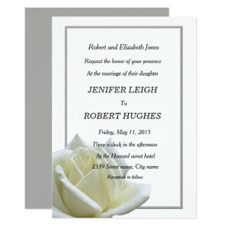 Elegant white rose and silver wedding card