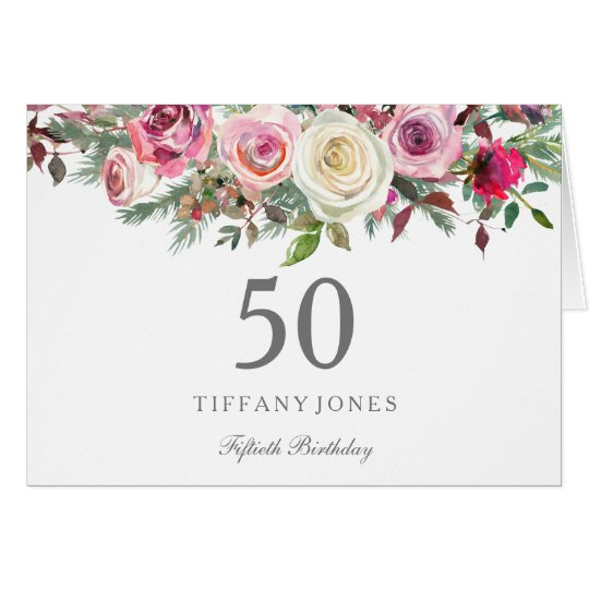 Elegant White Rose Floral 50th Birthday Thank you Card