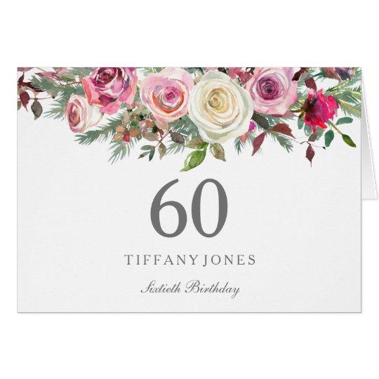 Elegant White Rose Floral 60th Birthday Thank you Card