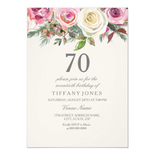 Elegant White Rose Floral 70th Birthday Invite