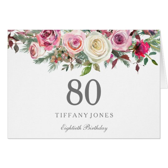 Elegant White Rose Floral 80th Birthday Thank you Card
