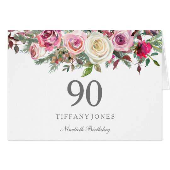 Elegant White Rose Floral 90th Birthday Thank you Card