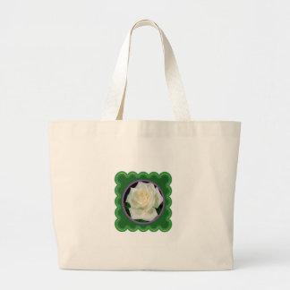 Elegant white rose flower floral photo on 100 gift jumbo tote bag