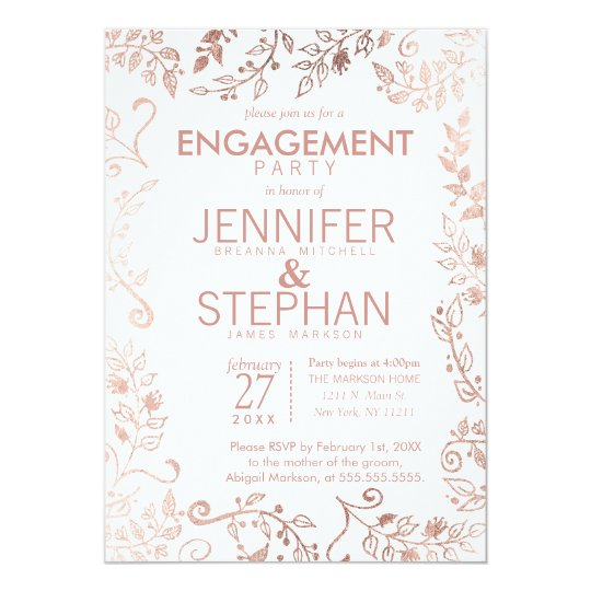 Elegant White Rose Gold Floral Engagement Party Card