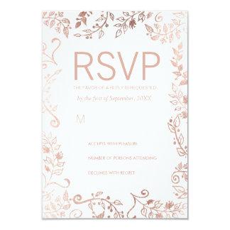 Elegant White Rose Gold Floral RSVP Cards