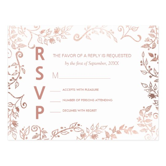 Elegant White Rose Gold Floral RSVP Postcards