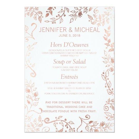 Elegant White Rose Gold Floral Wedding Menu Card