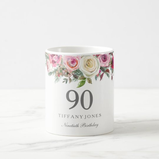 Elegant White Rose Pink Floral 90th Birthday Coffee